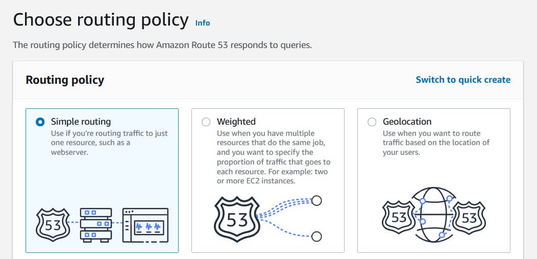 Choose AWS Route 53 routing policy