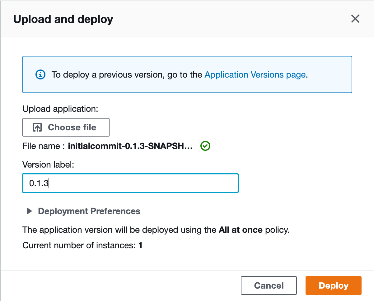 AWS Elastic Beanstalk deploy screen