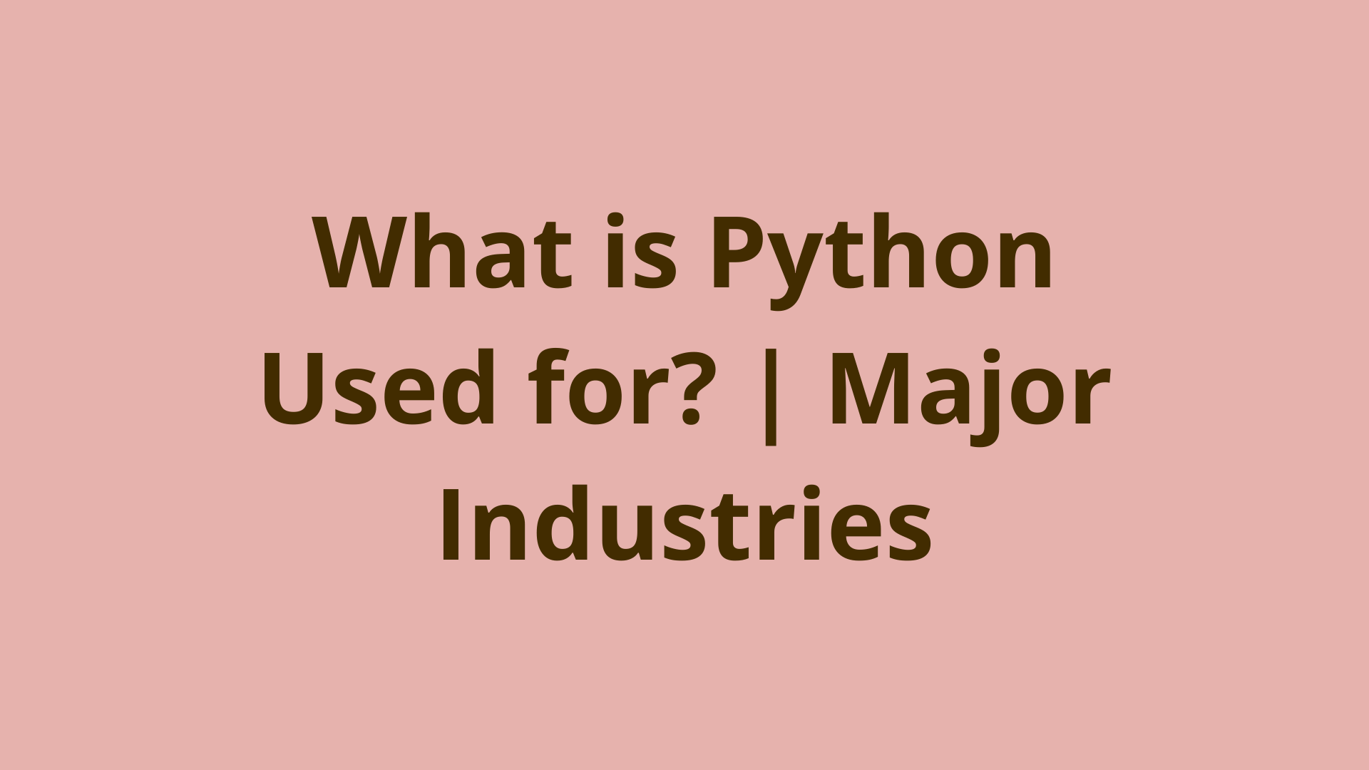 Image of What is Python Used for? | Major Industries